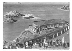 View of the 1st Cliff House and Seal Rock, 1894
