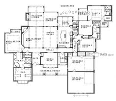 Home Plans HOMEPW75778 - 3,258 Square Feet, 4 Bedroom 3 Bathroom Ranch Home with 3 Garage Bays