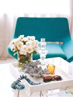 white + teal chair