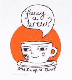 Fancy a brew? original screen print by Lisa Stubbs