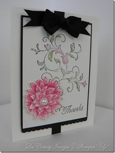 A pretty card I did for the Stamping 411 Challenge last week.  Visit my blog at http://www.stampingleeyours.blogspot.com for more info
