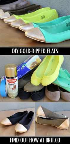 DIY Gold-Tipped Ballet Flats — can't believe these are DIY!  Pick-up some shoes to try this great project at Safari Thrift in Aurora CO.