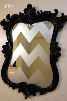 Frosted glass spray paint, tape and an old mirror and frame!