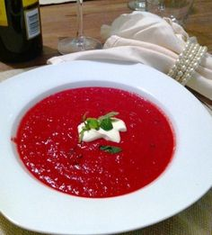 Roasted Beetroot Soup with Creme Fraiche and Fresh Mint #food #yum #foodie #recipe