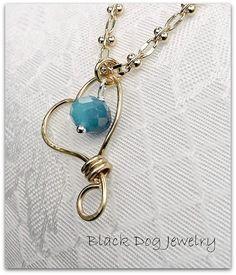 Brass Heart Ombre Blue Iris Necklace by BlackDogJewelrynArt