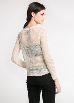 Mango.  #affordable #open-knit #sweater #cream
