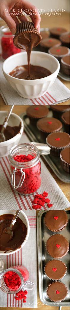 Milk Chocolate Glazed Chocolate Ganache Cupcakes | Giant Heart Sprinkles, $10  #ValentinesDay