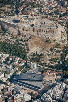 View of the Acropolis and the New Acropolis Museum, Athens #Greece