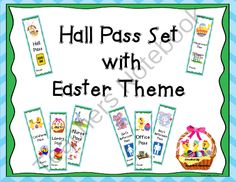 Hall Pass Set with Easter Theme from Angelica'sResources on TeachersNotebook.com -  (9 pages)  - Surprise your students by changing the Hall Pass Set with the holiday that is approaching.