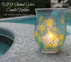 """DIY """"Stained Glass"""" Candle Holders w/ Mod Podge ALittleClaireification.com #crafts #DIY"""