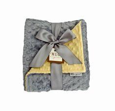 Yellow & Gray Minky Dot Baby Blanket on Etsy, $36.00