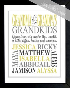 Personalized GRANDPARENT PRINT- the original :) - with Grandchildren's Names and Birthdays - Completely Customizable - Mother's Day