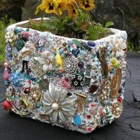 Jewelry And Charms Encrusted Whimsy Planter | DIY