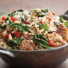 """Brown and Wild Rice with Sausage   Minute® Ready to Serve Brown and Wild Rice with crumbled sausage, roasted red pepper, and a handful of baby spinach leaves. """"Toss it together and it's ready to go!"""""""