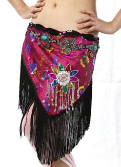 exquisite BL214 embroidery sequins flower black tassels triangle satin belly dance hip scarf waist belt waist chain $21.00