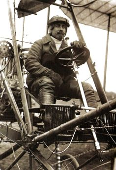 American aviator and pioneer of manned flight, Samuel Cody. seated in British Army Aeroplane No1 before testing at Farnborough - UK - 16 October 1908