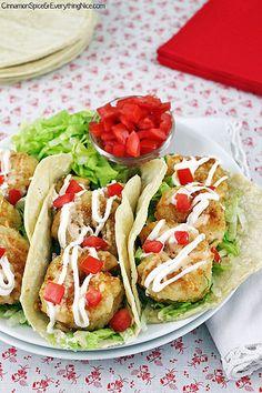 Bang Bang Shrimp Tacos by CinnamonKitchn (Bonefish Grill Restaurant) Extra crispy shrimp, v spicy sauce, addictive