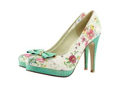 Lovely custom made shoes from Shoesofprey... Vintage meets Breakfast at Tiffanys. To wear with those beautiful short 50s wedding dresses. design shoe, wedding dressses, style, floral print, custom design, heel, vintag meet, shoes of prey, bridesmaid shoe