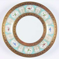 """""""Pompadour"""" china pattern with turquoise green rim, ornate gold trim, & blue birds from Chas Field Haviland."""