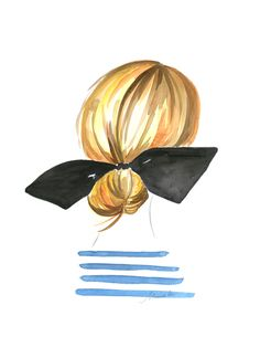 BRIGITTE, $20 USD art prints, hair bows, stripe