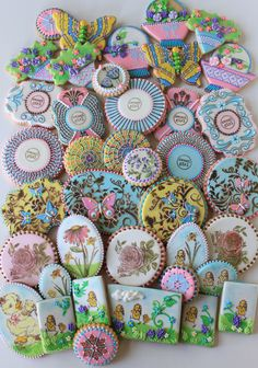Springtime cookie set showing all the techniques in Julia's new 16-video cookie decorating series, by Julia M. Usher, http://www.juliausher.com/store/category/video