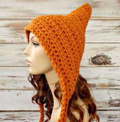 Crocheted Pixie Hat in Apricot Orange