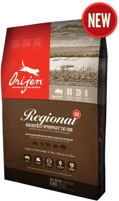 ORIJEN Regional Red is a symphony of fresh Angus beef, wild boar, Alberta lamb, heritage pork and bison - all ranch raised within our region by people we know and trust - in a meat and protein-rich formula that's unmatched in nutrition and taste