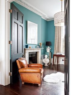wall colors, interior, living rooms, black doors, blue walls, reading chairs, leather chairs, blues, victorian houses