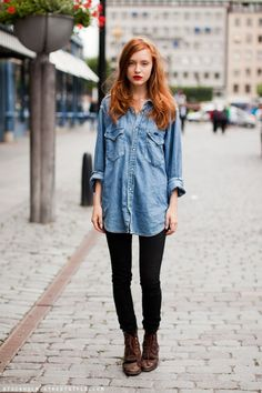 red hair, button, outfit, denim shirts, street styles, red lips, brown boots, black jeans, combat boots