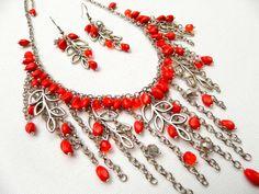 #Red  Red jewelry  #Bib necklace #Handmade jewelry  by insoujewelry, $57.00