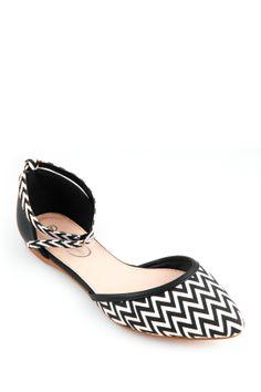 GC Shoes Outline Chevron d'Orsay Flat