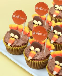 Gluten Free Thanksgiving Turkey Cupcakes thanksgiving turkey, cupcakes, food, turkey cupcak, fall cupcak, yellow cakes, friend, the holiday, cream cheese frosting