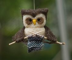 Felted owl Ornament