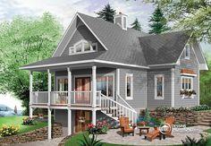 Plan de chalet avec terrasse couverte, cottage plan with covered terrace.