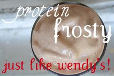 Protein Shake that taste just like a Wendy's Frosty. So glad I just tried this, my new favorite post-workout drink! 3/4cup almond milk, 1 scoop vanilla muscle gain powder,1 Tbl natural cocoa powder, 1 packet sweetener and 10-15 ice cubes blended. Yum! protein powder dessert, protein powder shake recipes, healthy protein shake recipes, vanilla protein powder recipes, thm shake, protein shakes, drink, wendi frosti, thm smoothie