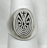 Authentic Navajo Sterling Silver overlay Man in a Maze ring
