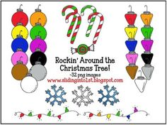 Rockin' Around the Christmas Tree {clipart} 32 png images!