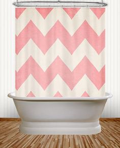 Sweet Kisses  Pink Chevron Shower Curtain  $59.99 #KIDS #kidsbathroom #kidsdecor #girlsroom