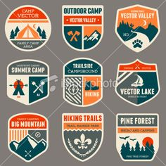 Retro camp badges Royalty Free Stock Vector Art Illustration