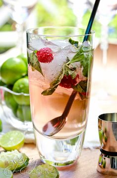 Raspberry Basil Mojitos with Lime Slices