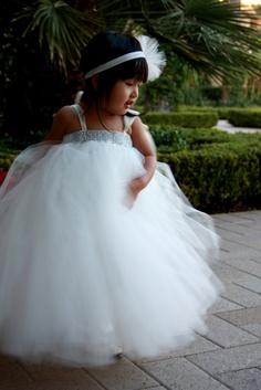 Ivory Bling TuTu Dress. Flower Girl. Wedding. Birthday. $75.00, via Etsy.