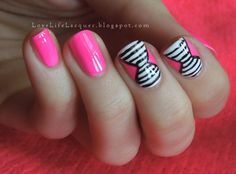 Love Life Lacquer: Neon + Stripes = Inspired by Hey, Nice Nails!