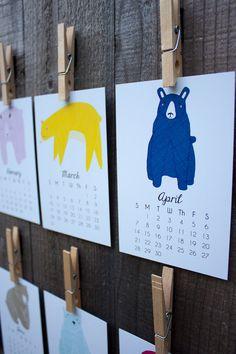 Little Bears 2014 Calendar Desk Calendar Wall Calendar by Gingiber  |  The ultimate calendar for kids
