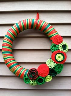 Christmas Wreath wrapped in Green & Red Striped by stringnthings, $42.00