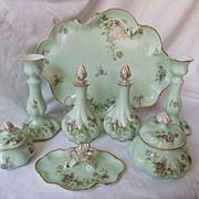 Antique Limoges Porcelain Ladies Dresser Set, 8 pieces, C1890-1910