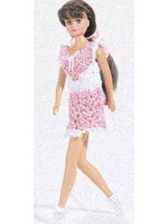 Barbie doll mini dress - free crochet pattern