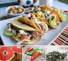Crispy Duck Tacos with Grapefruit Plum Salsa