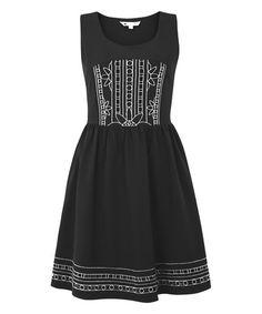 Look at this #zulilyfind! Black Floral Embroidered Sleeveless Dress #zulilyfinds