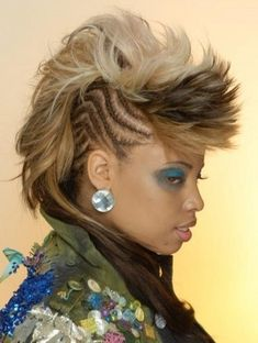 Mohawk hairstyle with cornrows