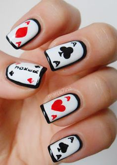 las vega, nail designs, alice in wonderland, vegas theme, nail arts, card nail, nails, playing cards, nail ideas